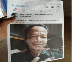 Tak Nyaman Foto Nya Dipajang Di Medsos, Pemilik Akun Bernama Kgs Taufik Bakal Dilaporkan