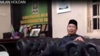 Ramlan Holdan, Provincial Chairperson, Nasional Awakening Party South Sumatra while being interviewed regarding to South Sumatra Government to launch agriculture initiation