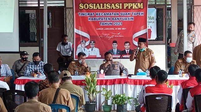 suasana edukasi dan sosialisasi PPKM di Kecamatan Suak Tapeh Dihadiri Kapolres Banyuasin