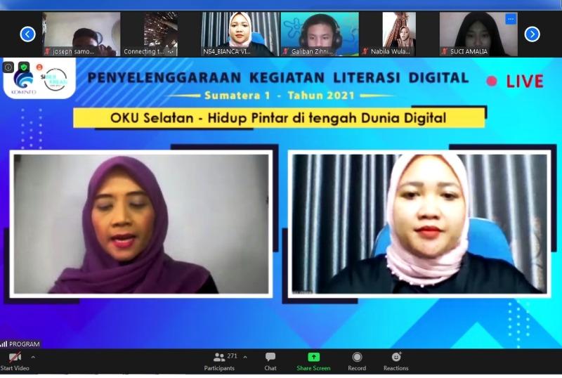 tangkapan layar kegiatan Webinar Literasi Digital Oku selatan