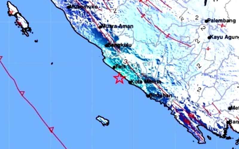 Shake Map gempabumi dengan magnitudo (M)5,1 pada Minggu dini hari (15/8) pukul 01.41 WIB di wilayah Kabupaten Bengkulu Selatan, Provinsi Bengkulu. (BMKG)