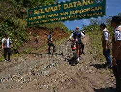 Dampingi Pangdam II Sriwijaya Dengan Motor Trail, Bupati OKU Selatan Tinjau Lokasi Karya Bakti