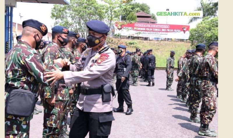 Dalam Suasana Saat Polda Sumsel Melepas 100 Personel Dukung Pengamanan PON XX Bumi Candrawasi