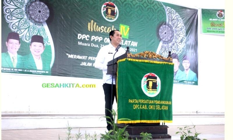 Suasana Dimana Saat Bupati OKU Selatan Popo Ali M.,B.Com., hadiri Pembukaan Musyawarah Cabang IX Dewan Pimpinan Cabang Partai Persatuan Pembangunan ( DPC PPP ) Kabupaten OKU Selatan, Selasa (22/09/2021).