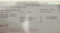 Score Report Which Stated Aqiilah Ramadhai Amir whose score is reaching 650