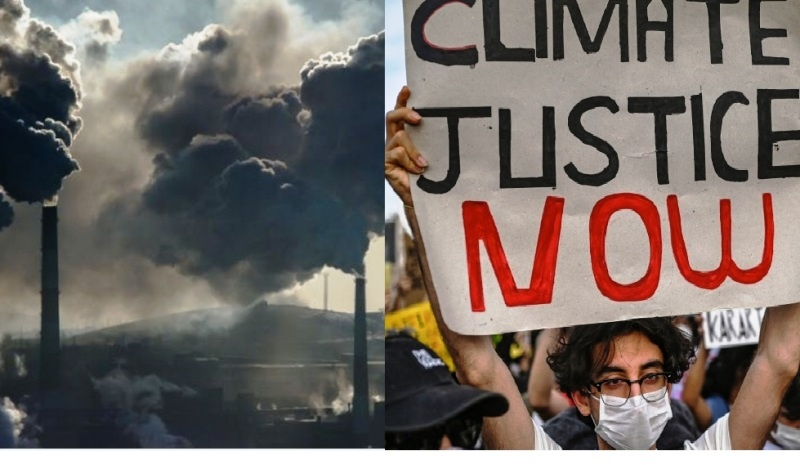Foto Edited Strike For Climate Change & Bad Effect Of Chimney Produce Carbon